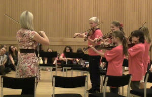 The fiddle group at the concert for parents